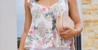 JustFab floral top with white skinny jeans and block heels, the perfect spring style outfit